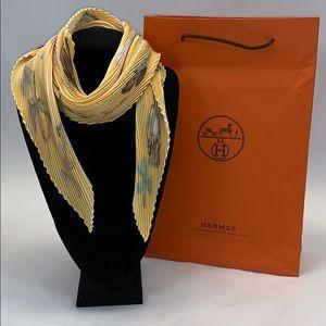 Hermès Yellow Ballerina Print Pleated Scarf